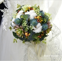 Vintage artificial flowers succulent plant wedding bridal bouquet bride holding flower Bridesmaid bouquet for wedding party blue