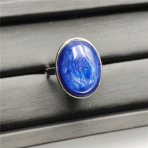 Image 4 - Natural Kyanite Ring Blue Cat Eye Healing Stone Oval Shape Anniversary Party AAAAA 16x14mm Woman Jewelry Luxury Adjustable Ring