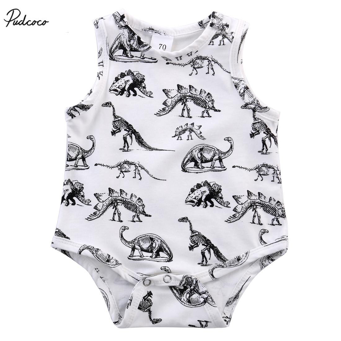 2017 Cute Newborn Infant Baby Girls Boys Clothes Dinosaurs Cotton Romper Sleeveless Jumosuit Outfits
