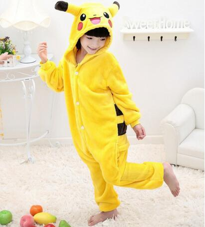 Kids Pikachu Pajamas Anime Pokemon Pocket Monster Costume Carton Animal Onesie For Boys/Girls Cosplay Pajamas Children Sleepwear