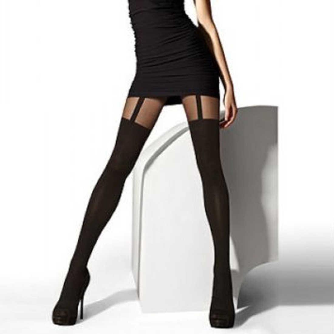 ใหม่ออกแบบล่าสุด Mock Suspends Tights สบาย Tights สูงแฟชั่นถุงน่อง Pantyhose ลวดลายสำหรับหญิง