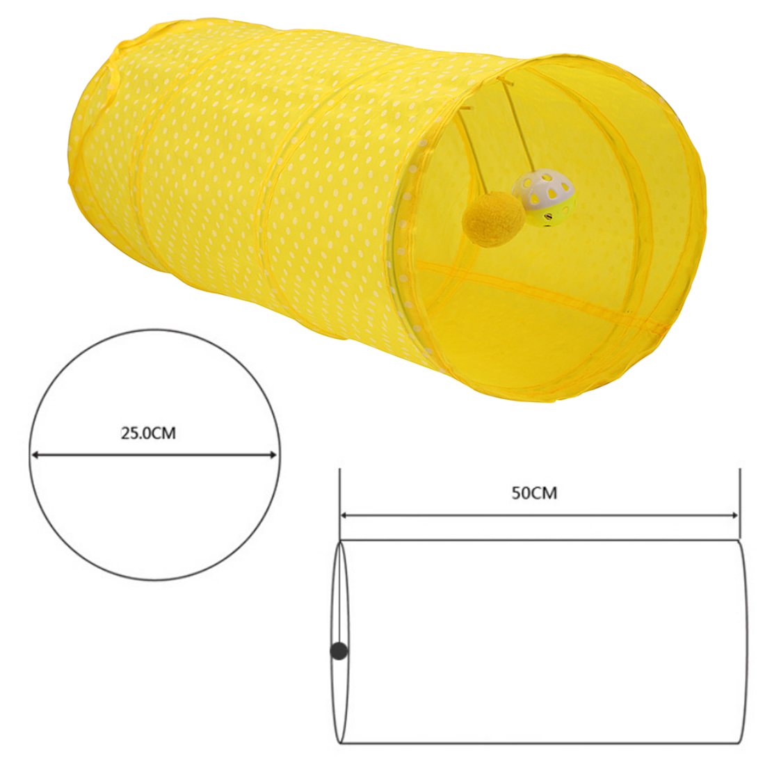 New Polka Dot Pet Cat Tunnel Funny Cat Long Tunnel Kitten Play Toy Collapsible Bulk Cat Toys Rabbit Play Tunnel