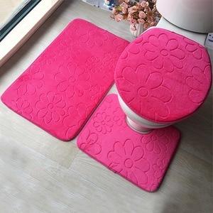 Image 2 - 3ชิ้น/เซ็ตห้องน้ำชุดFlannel Anti Slip Kitchenพรมห้องน้ำTolietพรมทำความสะอาดได้Tapete Banheiro