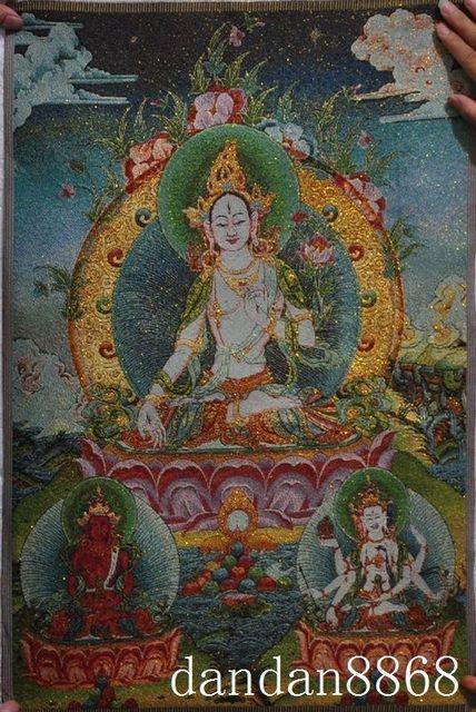 Tibet bouddhisme broderie de soie thangka blanc tara bouddha décoration de la maison