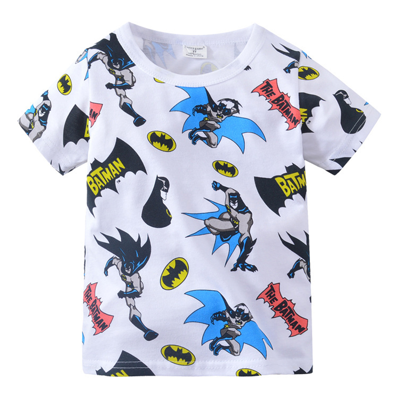 Baby Boys Tops Summer Children T shirts Boys Clothes Kids Tops Tee Shirt Cotton Batman Print Baby Boy ClothingTops 2-7Year цена 2017