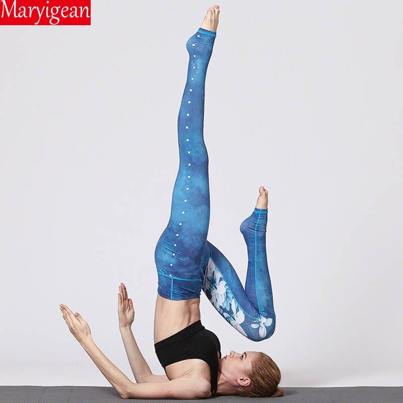 Maryigean New 2019 Professional Yoga Wear Fitness Pants Slim Base Trousers Printed High Waist Push Up Fitness Leggings
