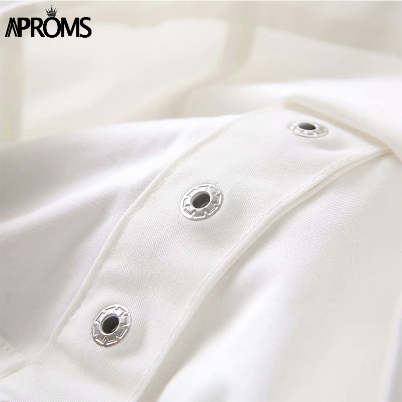 Aproms White Strapless Off Shoulder Blouse Summer Short Sleeve Crop Top Women Button Down Shirt Streetwear Fashion Blusas 2019 in Blouses amp Shirts from Women 39 s Clothing