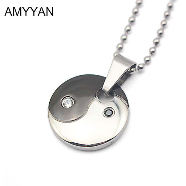 316l stainless steel yin yang necklace tai chi pendants necklace 316l stainless steel yin yang necklace tai chi pendants necklace health magnetic black and white round aloadofball Images