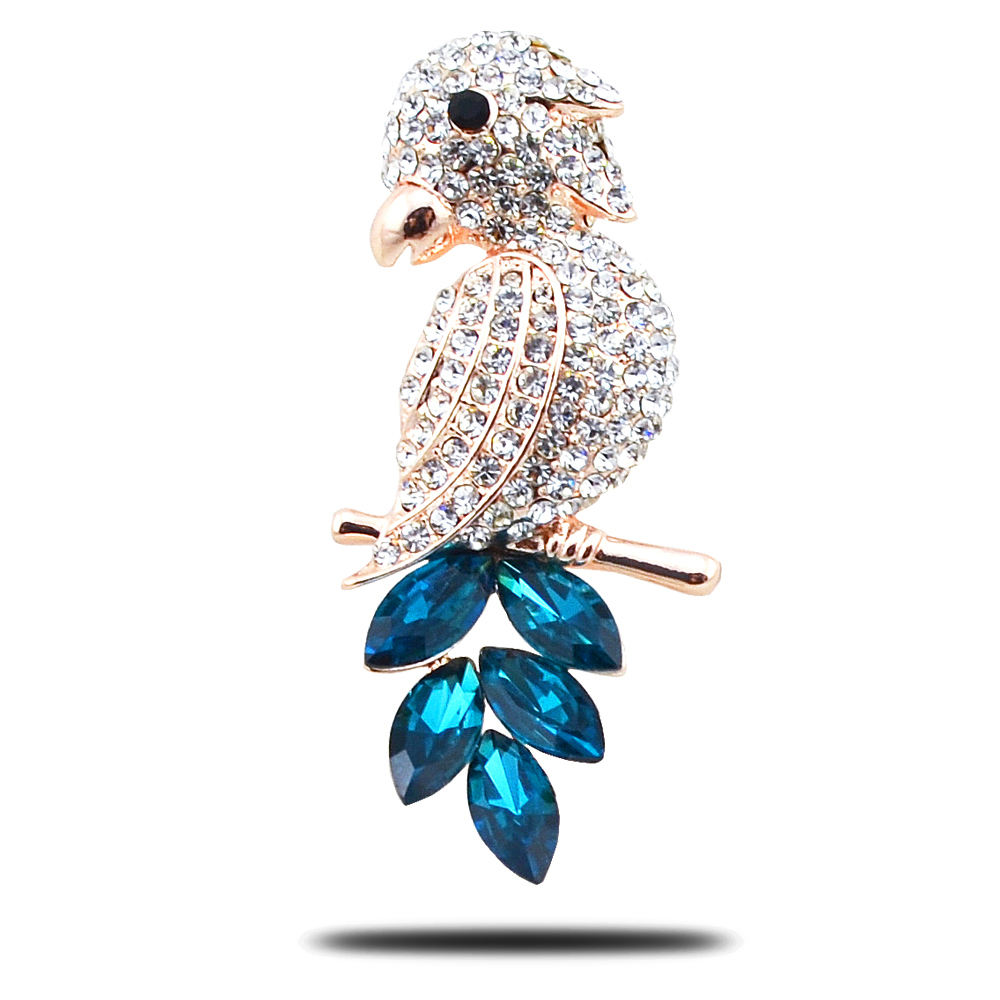 2017 New Fashion Full Rhinestone Brooches Corsage High Quality Parrot Pin Cape Buckle Epaulet For scarf 3Colors Blue Green Red