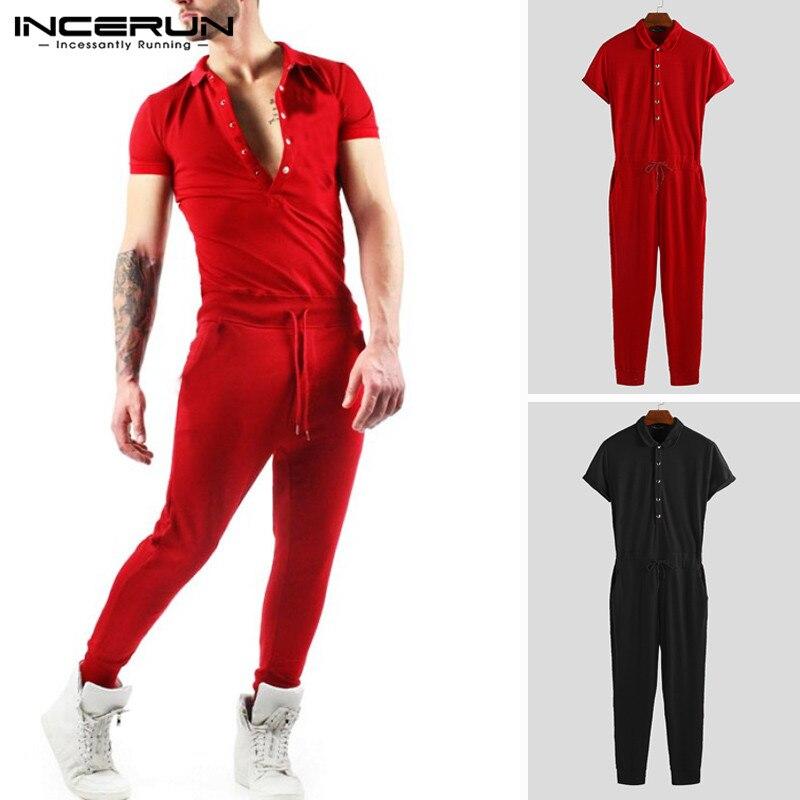 INCERUN Men Jumpsuit Solid Color Shortsleeve Pants Streetwear 2019 Overalls Bodybuilding Hip-hop Men Tracksuit Rompers Plus Size