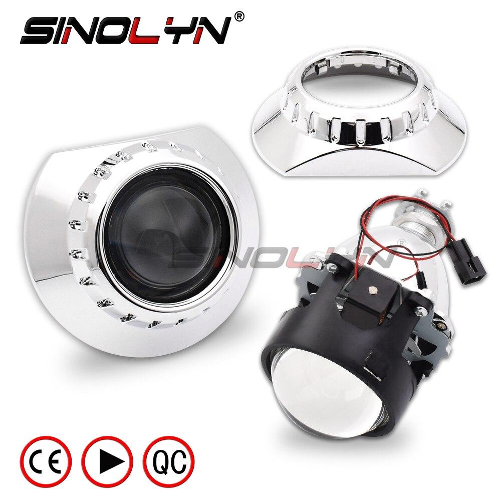 HID Bi xenon Headlight Projector Lens W/ E46 R Extended Shrouds For BMW M3 E90/E91/E92/E93 ZKW E46 Compact Retrofit Lenses 2.5''
