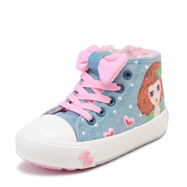 2017 Winter Baby Girls Canvas Shoes Plush Lining Lace up Children Jeans Shoes Toddlers Casual Shoes Thermal Kids Girls Shoes