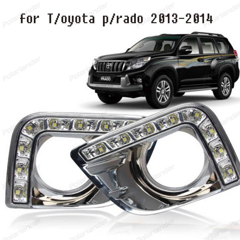 car styling LED Car DRL Daytime Running Light Fog Lamp Cover for T/oyota P/rado 2013-2014