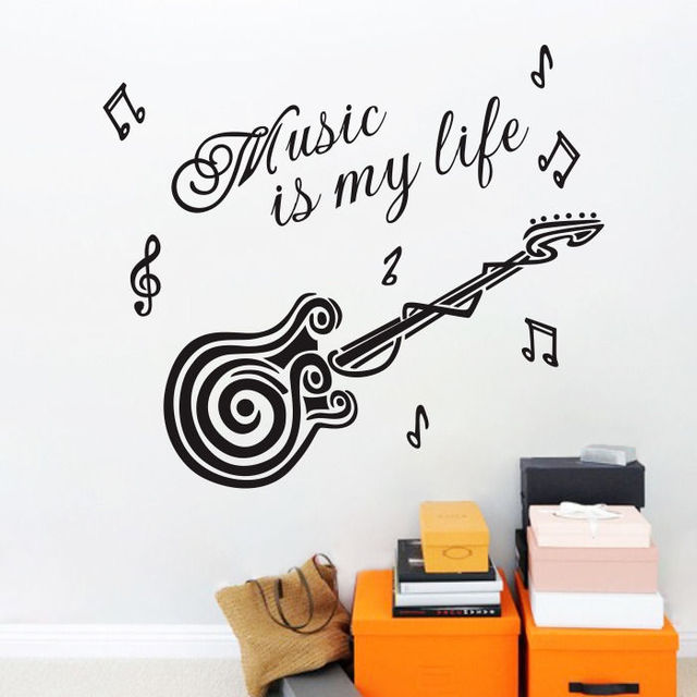 Quote music is my life guitar wall mural decal sticker diy - Over the garden wall soundtrack vinyl ...