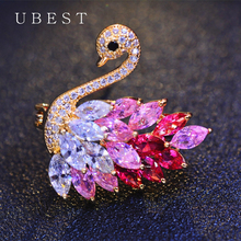 UBEST 2018 Hot Sale Crystal Swan Brooch Pins Pink and Purple Color Lovers Animal Zircon Brooches for Women Wedding Scarf Jewelry недорого