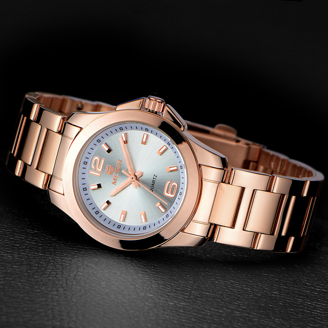 Women Watches Fashion Gold Stainless Steel Ladies Watch Luxury Brand Megir Women's Watches Female Quartz Clock Relogio Feminino