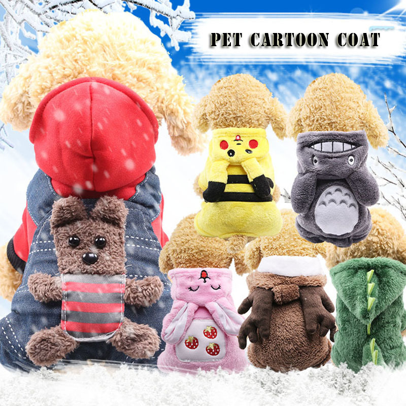 KIMHOME PET Small Dog Clothes Winter Cartoon Style Funny Dog Clothes For Small Dogs Chihuahua Clothes French Bulldog Pet Clothes