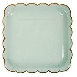 Image 4 - Assiettes en papier couleur bonbon, assiettes en papier Pastel avec feuille dor pour anniversaire, vaisselle de décoration de réception pour bébé de mariage 8 pièces/lot
