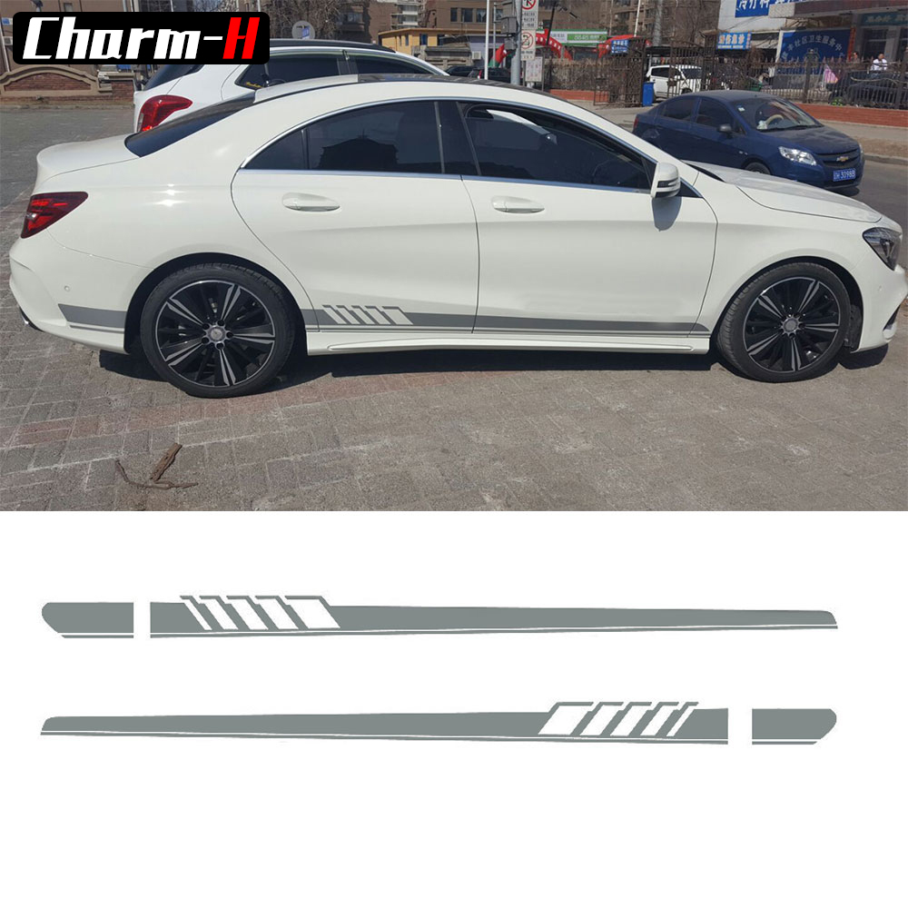 SilverGray/Reflective Yellow - Car Side Skirt Decal Sticker for Mercedes Benz W205 C Class AMG Edition 1 Racing Stripe Stickers