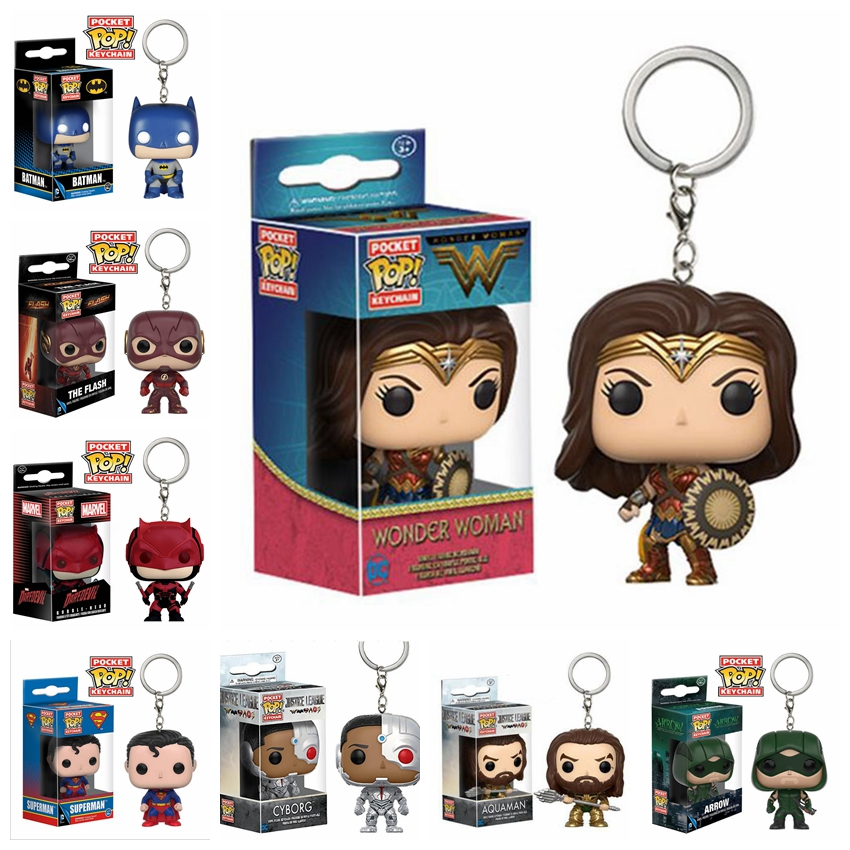 Funko Pop Keychain Justice League - Batman, Aquaman, Flash, And Cyborg Action Figure Key Chain Collectible Model Toy