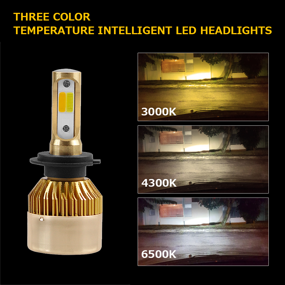 SULUCAR LED Car Headlamp H7 H4 H1 H3 H11 3 Color in One H11 H8 H9 9005 HB3 9006 12V 60W COB Car Lights 6000K 4300K 3000K in Car Headlight Bulbs LED from Automobiles Motorcycles