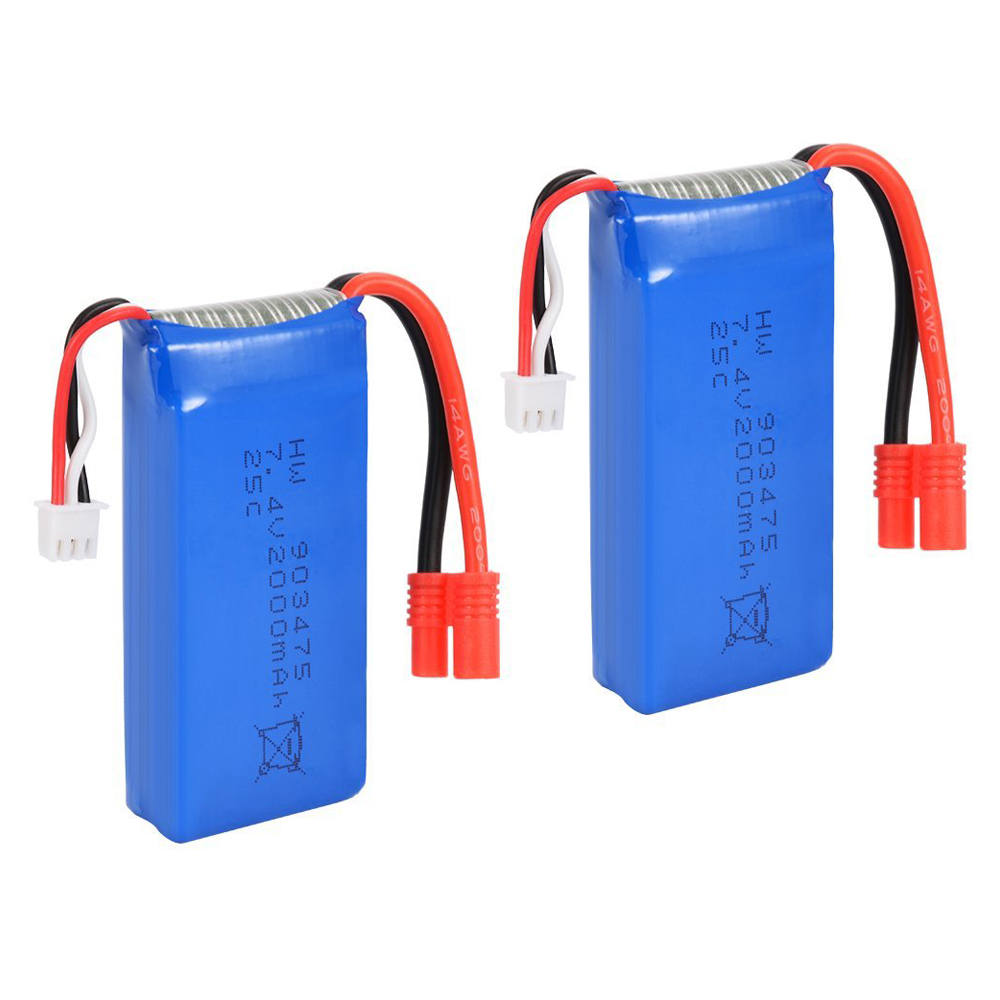 MACH 2PCS 7.4V 25C 2000mAh R Plug Battery for Syma X8C X8W X8G Drone Quadcopter