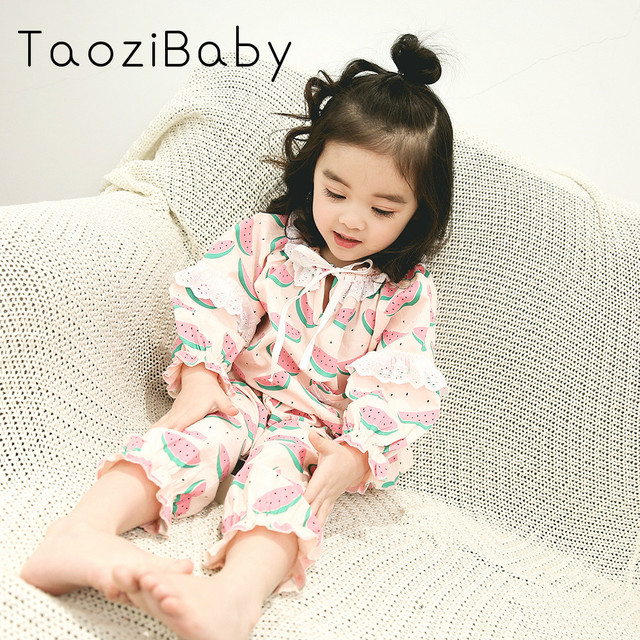 04379db65 Spring s Korean Female Child Baby Sweet Cotton Suit Printed Lace ...