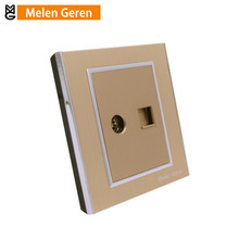 Internet Wall Computer and TV Socket Aluminum Alloy Panel Without Plug adapter Luxury Brushed Gold Home Electrical Accessories livolo manufacture grey glass panel 2 gangs wall computer and tv socket outlet vl c791vc 15 without plug adapter