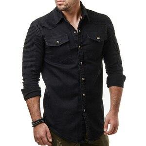 Image 2 - Hcxy 2019 秋男性のジーンズシャツビッグサイズ男性長袖デニムシャツ洗浄長袖のジーンズのシャツ倍の装飾