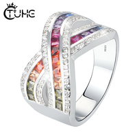 Fashion Solid 925 Sterling Silver Ring for Women Cross X Shape Exquisite Rainbow Ring Zirconia Micro Paved Silver Jewelry