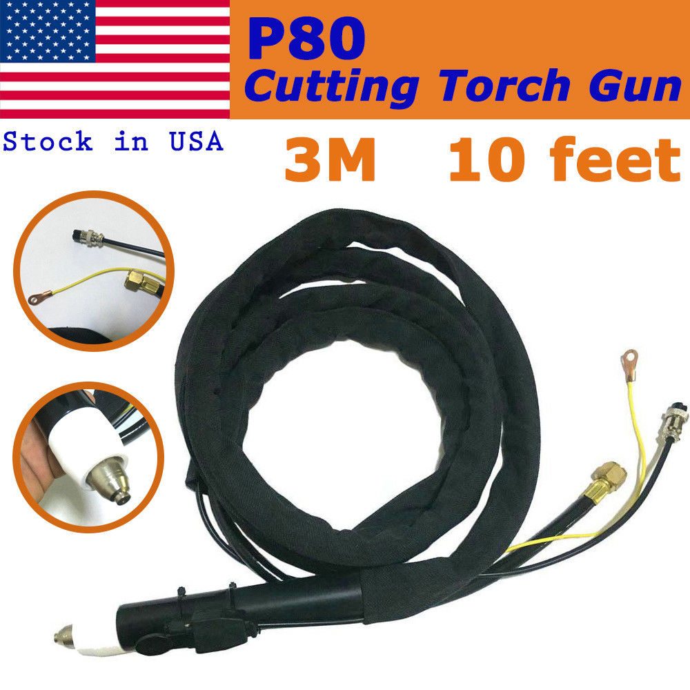 P80 Plasma Cutting Straight Torch Gun 10 Feet Pilot Arc Gun
