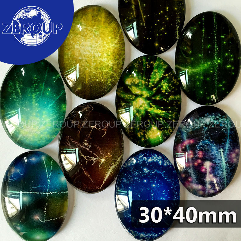 ZEROUP 30*40mm Oval Glass Cabochon Starry Sky Pictures Mixed Pattern Fit Base Setting For Jewelry Flatback 10pcs/lot TP-064