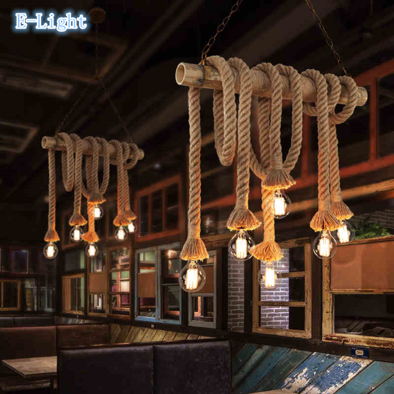 aliexpress.com : buy vintage rope pendant lights lamp loft ... - American Style Wohnzimmer
