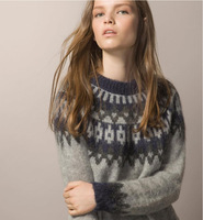 Vintage snowflake Argyle Wool and Mahair Women Sweater European and American Style Casual Knitted Pullovers Clothing