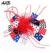 AHB 4th of July Feather Hair Clips for Girls Layers Bows Dot Striped Ribbons Festival Party Hairgrips Kids Accessorie