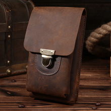 Waist Pack Man Genuine Leather Sewing Men Messenger Bags Brown Small Cow