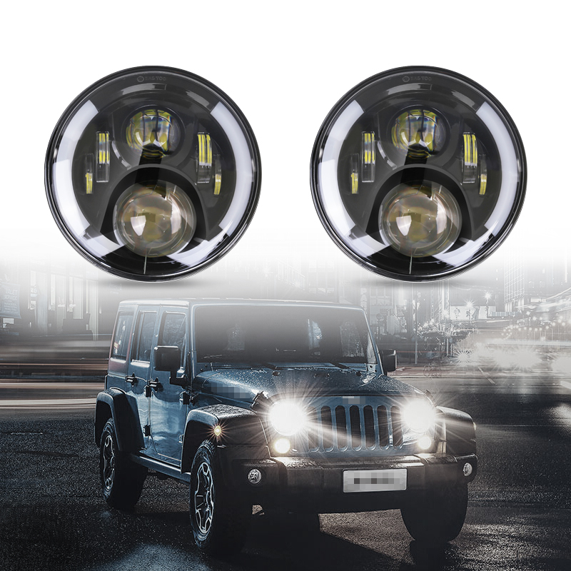 1PC Round 7'' Inch Led Headlight DRL Angel Eyes Turn Signal Light H4 H13 Hi/Low Beam Head Lamp 7 For Jeep Wrangler Hummer 7 inch round 50w 7 led headlight h4 led head lamp for harley motorcycle for jeep wrangler 4x4 with white amber halo hi low beam