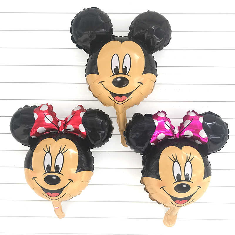 1pc Mini Mickey Minnie Mouse Head Foil Balloon Kids Birthday Party Decoration Baby Shower Supplies Inflatable Balloons