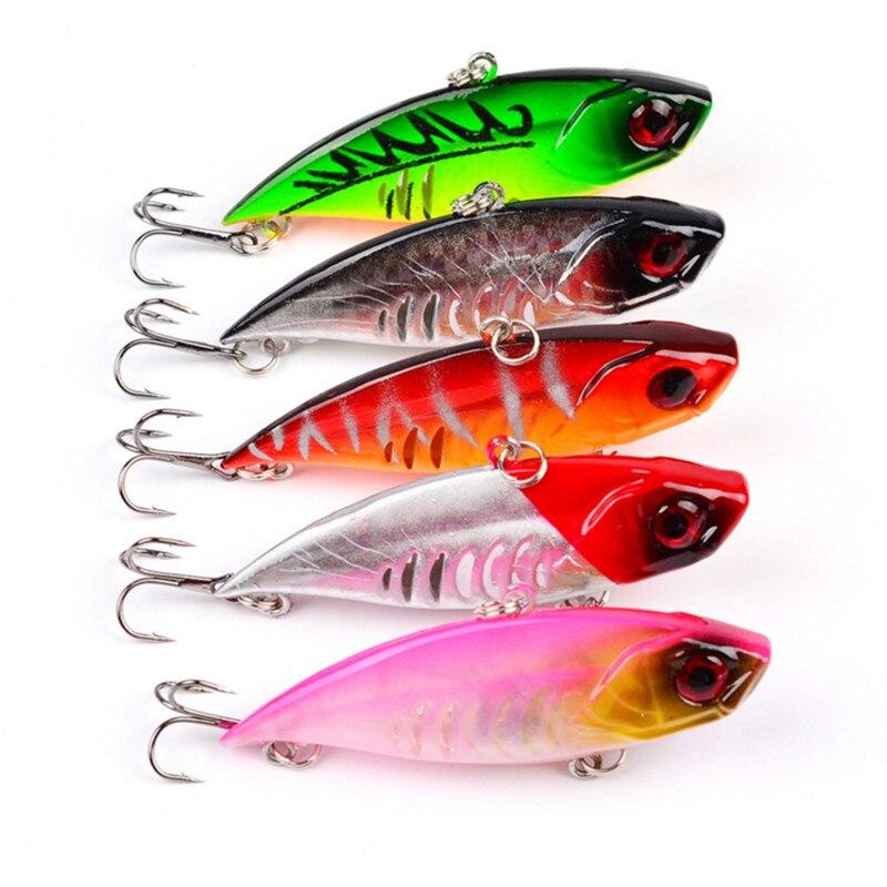 1Pcs 6.5cm 11g Colorful VIB Fishing Lure Bionic Bait Fish Hard Bait Wobblers Crankbaits Fresh Water Bass Head Hooks With 6#