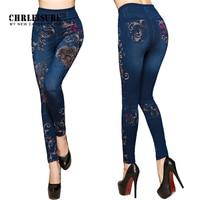 CHRLEISURE Women Jeans Leggings Autumn Flowers Printed Slim Cotton Woman Jeggings Ladies Fake Jeans Trousers Leggings