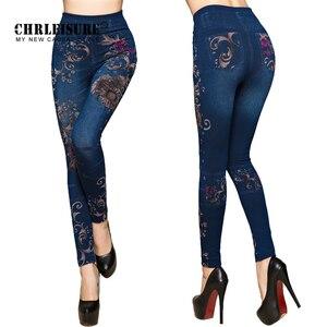 Image 1 - Женские джинсовые леггинсы CHRLEISURE, облегающие хлопковые джеггинсы с цветочным принтом, леггинсы с имитацией джинсовой ткани, на осень