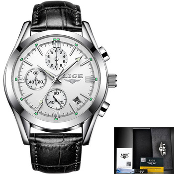 LIGE New Fashion Mens Watches Top Brand Luxury Military Quartz Watch Premium Leather Waterproof Sport Chronograph Watch Men 8