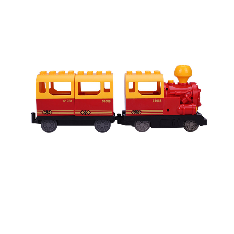 DIY Building Blocks Duploe Train Track Accessories Railway Points Curved Crossover Bridge Parts Brick Toys For Children Kids Gift (13)