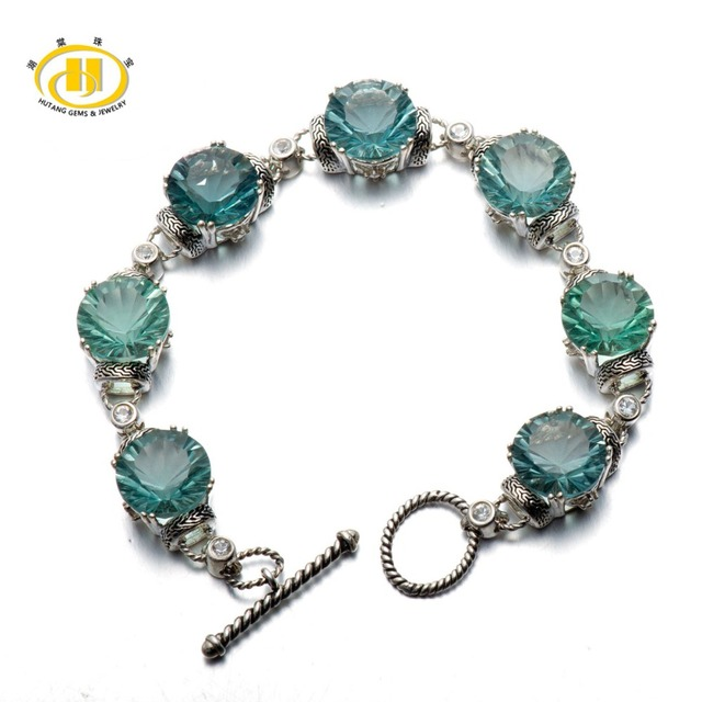 "Hutang Estilo Vintage 50.77 Ct Genuine Azul Fluorita 12 MM Sólida 925 Pulseira de Prata Esterlina Jóias Finas 7.25"""