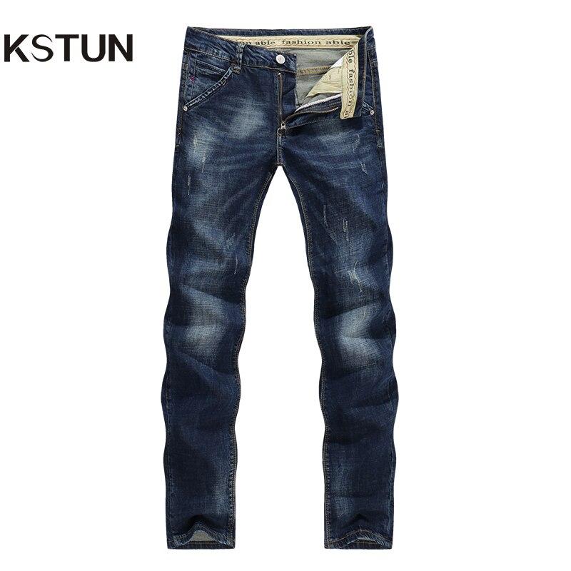 KSTUN calças de Brim dos homens Clássico Direto Trecho Riscado Azul Escuro Business Casual Calças Jeans Fino Calças Compridas Cavalheiro Cowboys 38