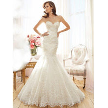Vestido De Noiva Custom Made Sweetheart White/Ivory Organza Applique Beading Lace Mermaid Wedding Dress Casamento