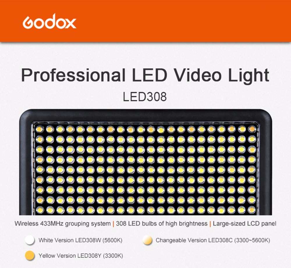 Godox LED 308C Continuous On Camera Video Light Lighting Panel Light 3300 5600K Portable Dimmable for