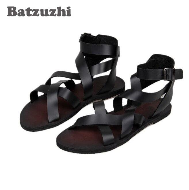 Sandalias נעלי גבר נאה מגניב 2018 חדש קיץ איש אופנה סנדלי עור סנדלים וכפכפים, שחור חום, גודל EU38-44