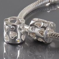 925 Sterling Silver European Jewelry Beads Diy Making Hart Shaped Hole Charms Inlay White Cubic Zirconia