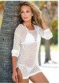 Мода Ажурные Полые Пляжная Сексуальное Бикини Блузка Шею Куртки с Длинными рукавами Защиты От Солнца Clothing Бесплатная Доставка